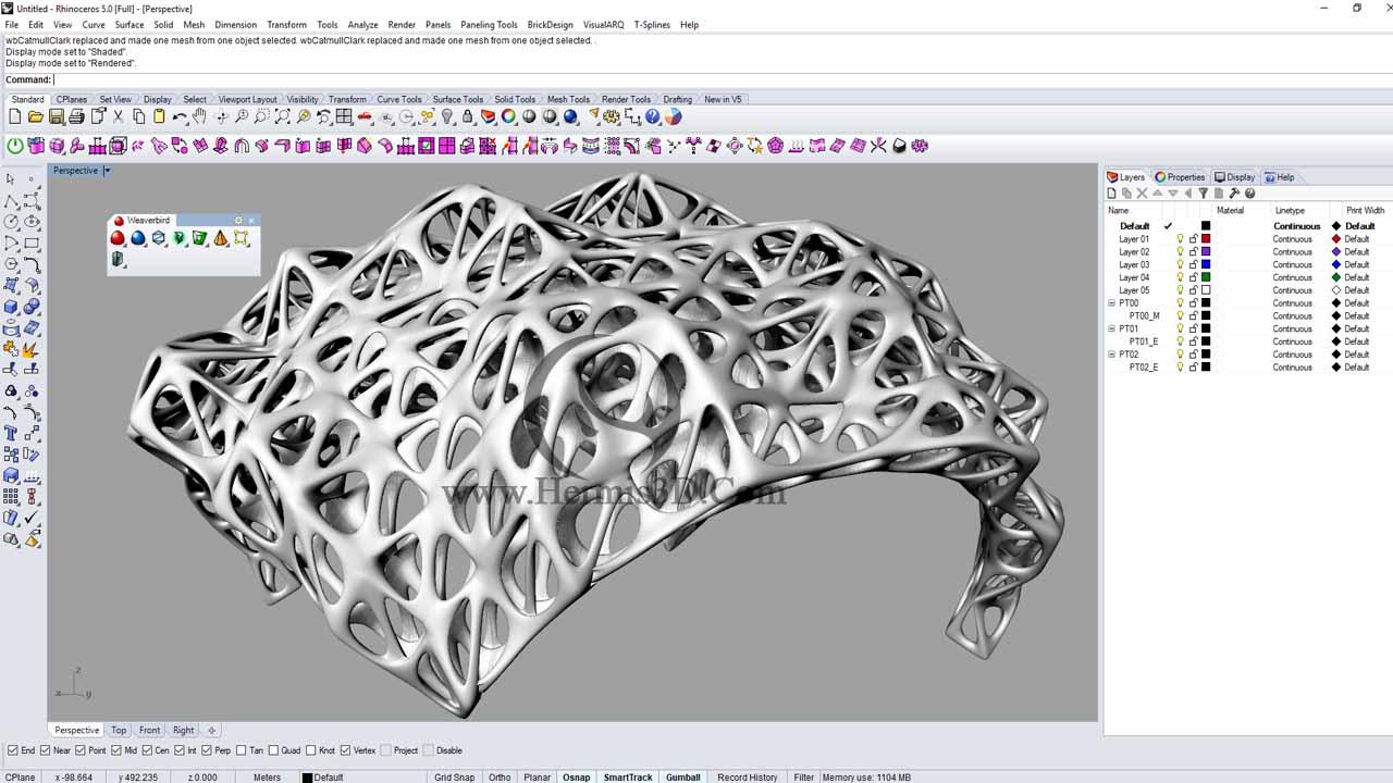 انواع تقسیمات سطوح مش در آموزش پلاگین weaverbird در نرم افزار راینو